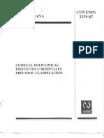 Norma Covenin 2339-87 Clasificacion de Clinicas
