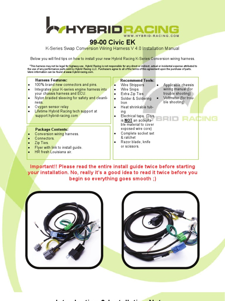 ek 99 00 wire harness instructions 4 0 electrical connector Wiring Harness Repair Parts