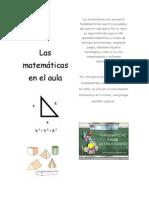 DIPTICO Las matemáticas  en el aula