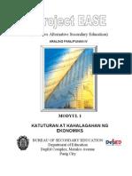 Modyul 1- Katuturan at Kahalagahan Ng Ekonomics