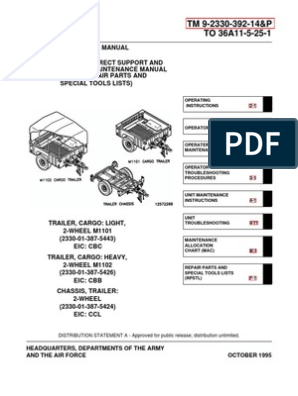 ARMY TM 9-2330-392-14P M1102 & M1102 Trailer Tech Manual Apr01 ... M Trailer Wiring Diagram on