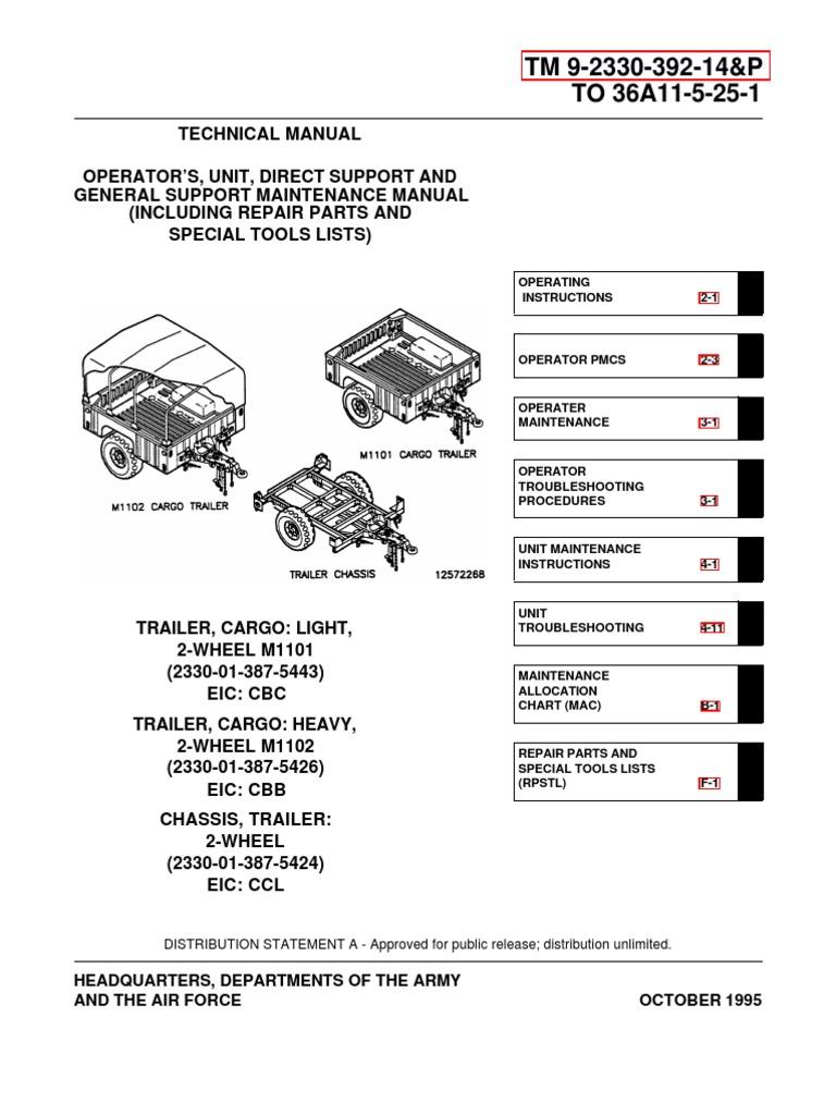 army tm 9 2330 392 14p m1102 m1102 trailer tech manual apr01 rh scribd com