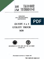 ARMY TM 9-8012-12 Operation Maintenance .25Ton 4X4 Truck M38 Jan56