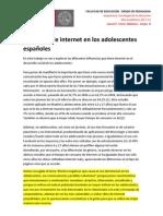 Influencia de internet en los adolescentes españoles