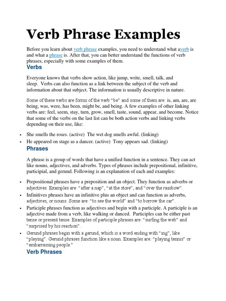 Verb Phrase Examples Mia Verb Adverb