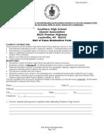 SHS Alumni Hall of Fame Nomination Form