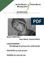 Feuille paroissiale Saint-Denis Saint-Roch Montpellier mai 2012