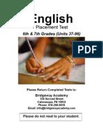 English TEST - 6th & 7th Grades (Units 37-96)