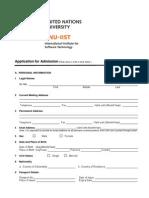 Application for Admission UNU - IIST
