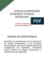 FUNDAMENTOS DE LA PREVENCIÓN DE RIESGOS Y TÉCNICAS