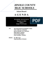 Seminole County Public Schools Budget Work Session