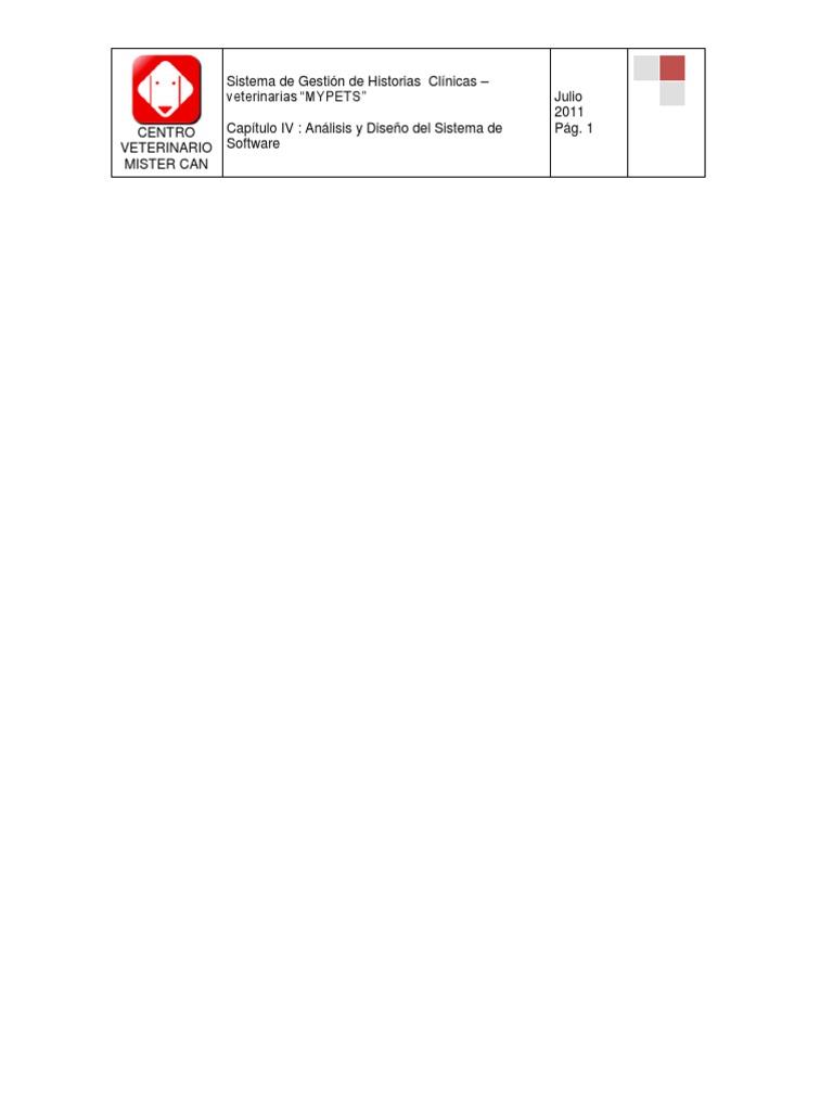 Sistema de Gestión de Historias Clínicas -veterinarias Mypets Cap 04