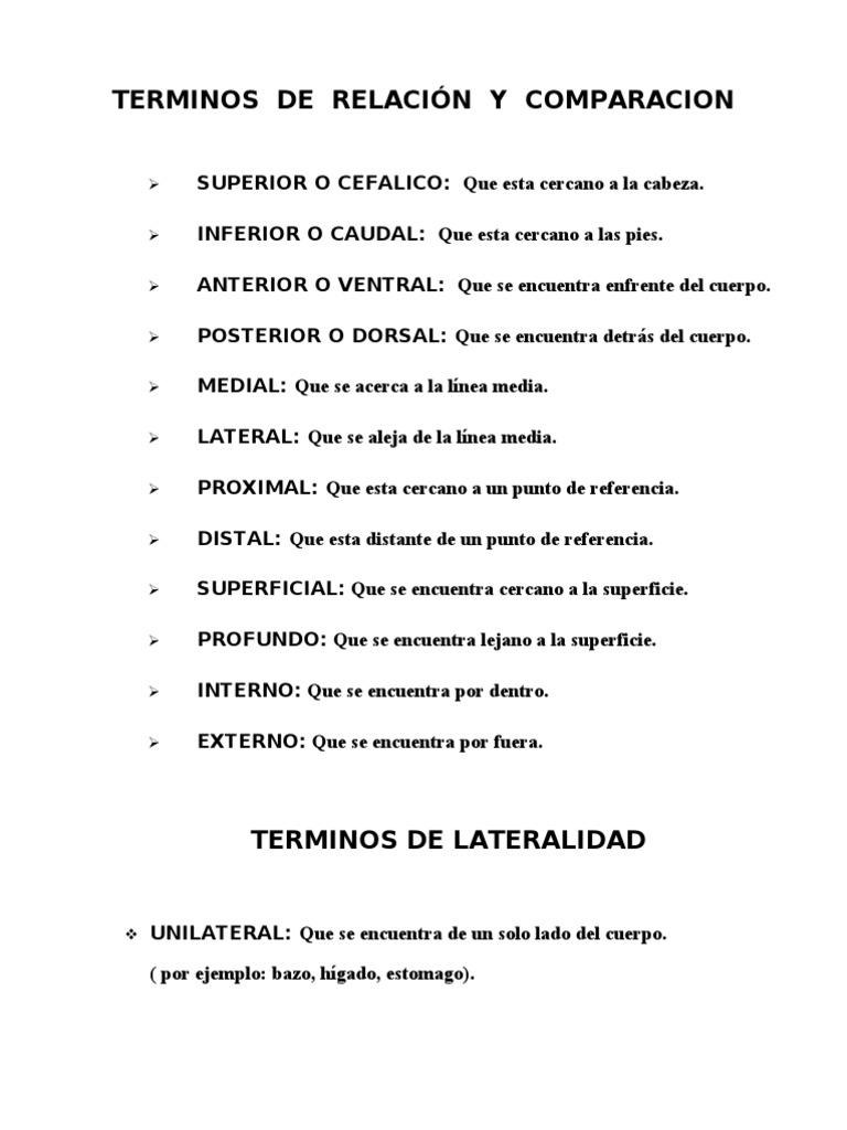 TERMINOS DE RELACIÓN Y COMPARACION