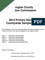 Douglas County, NE Sample Ballot May 15, 2012 Primary Election