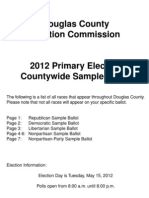 Douglas County, NE Sample Ballot May 15, 2012 Primary Election