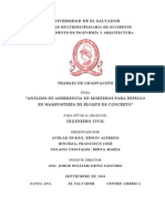 Análisis de Adherencia en Morteros para Repello en Mampostería de Bloque de Concreto