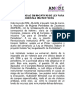 Análisis de Amedi a las iniciativas de ley para periodistas en Zacatecas