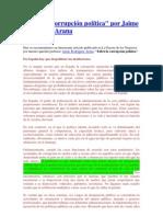 Sobre la Corrupción Política, Jaime Rodríguez Arana