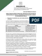 DRELP PUBLICÓ RESULTADOS DEL PROCESO DE SELECCIÓN DE PROFESIONALES PARA EL PROGRAMA DE EDUCACIÓN LOGROS DE APRENDIZAJE (PELA)