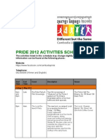 Pride 2012 Activities Schedule