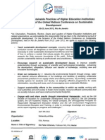 Declaration of Higher Education Sustainability Initiative for Rio+20