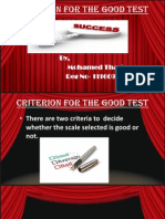 Criterion for the Good Test