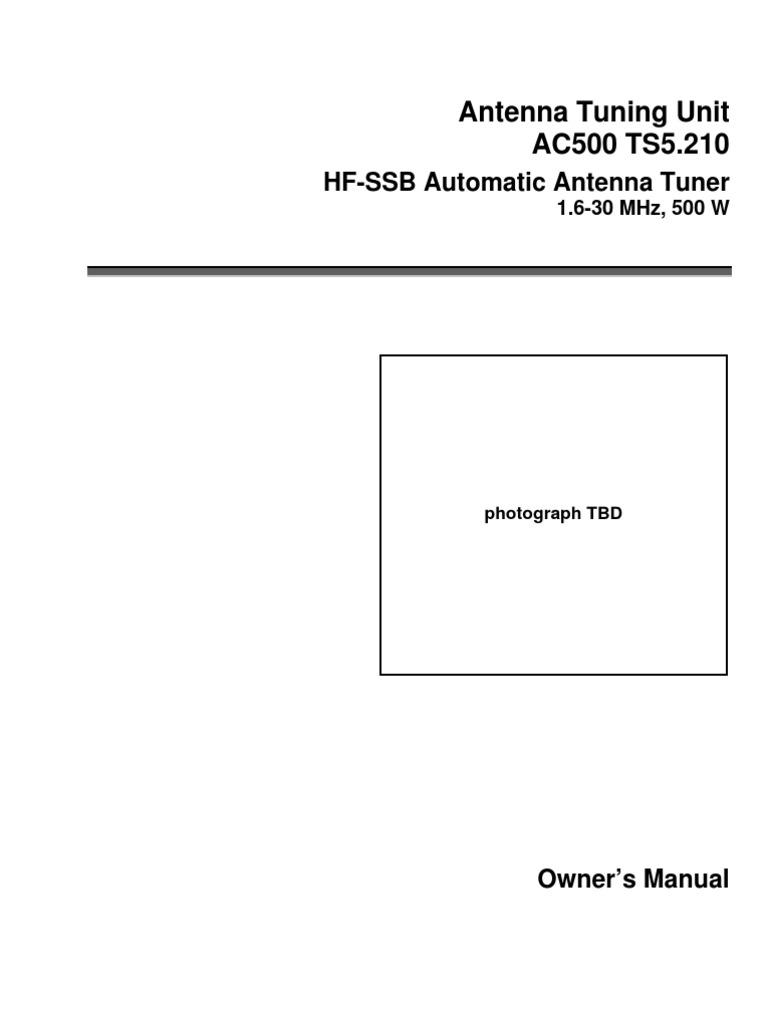 Atu 500 Owner Manual Antenna Radio Capacitor Tuning Unit
