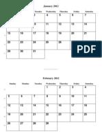 Print 2012 Calendar A3 Size