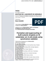 Formation and supercooling of AuSi eutectic droplets on Si substrates
