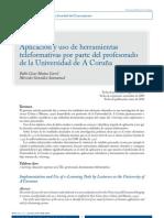 Aplicación y uso de herramientas teleformativas por parte del profesorado de la Universidad de A Coruña