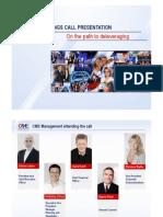 CME - hodnocení 1. čtvrtletí 2012, zpráva pro investory