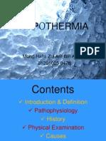Year 4 - Emergency Medicine - Tutorial - Hypothermia