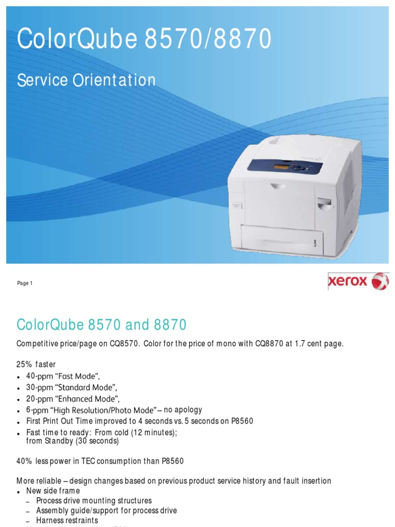 ColorQube 8570 and 8870 Service Orientation | Printer (Computing) |  Electrical Connector