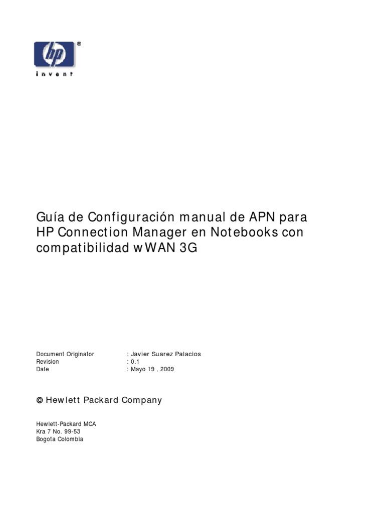 Guia de Personalizacion de APN Connection Manager | Hewlett