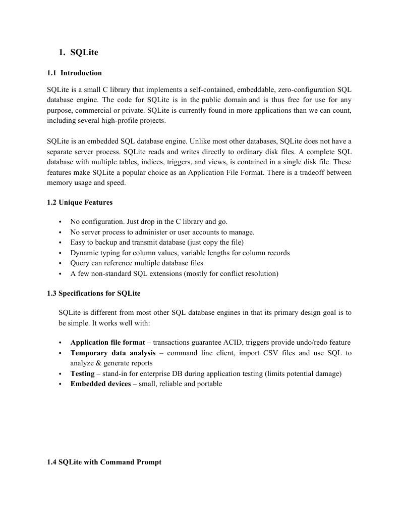 SQLite | Sql | Databases