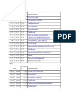Timetable for Training