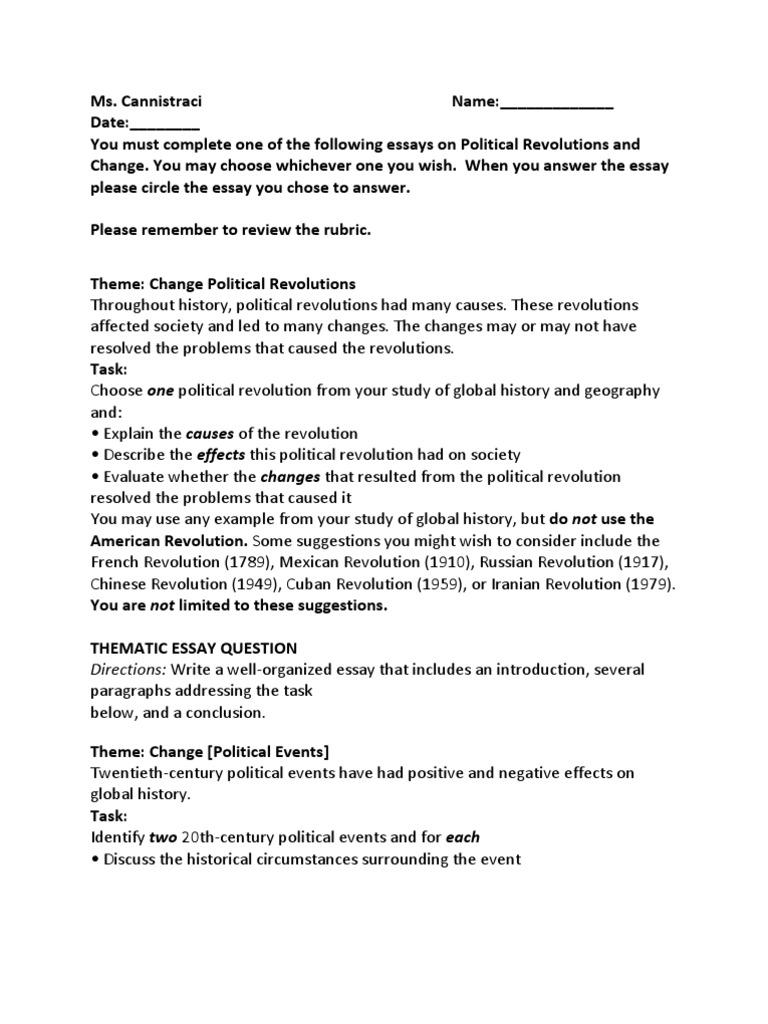 thematic essay topics