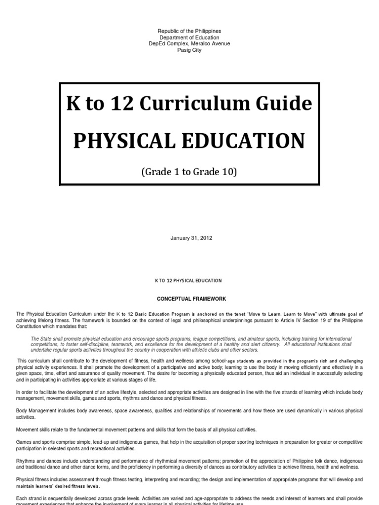 physical education k to 12 curriculum guide physical education rh es scribd com grade 8 english teaching guide deped pdf deped grade 8 english learning guide quarter 4