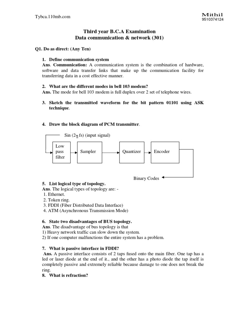 Solve paper dcn1 osi model computer network pooptronica