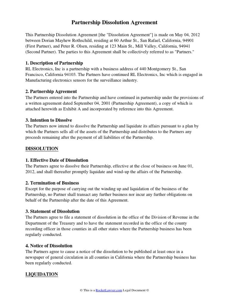 Partnership Dissolution Agreement Partnership Liquidation