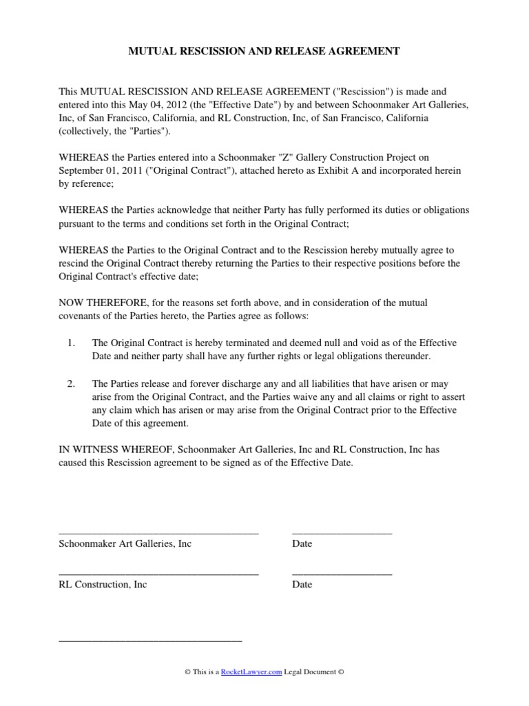 Mutual Rescission And Release Agreement