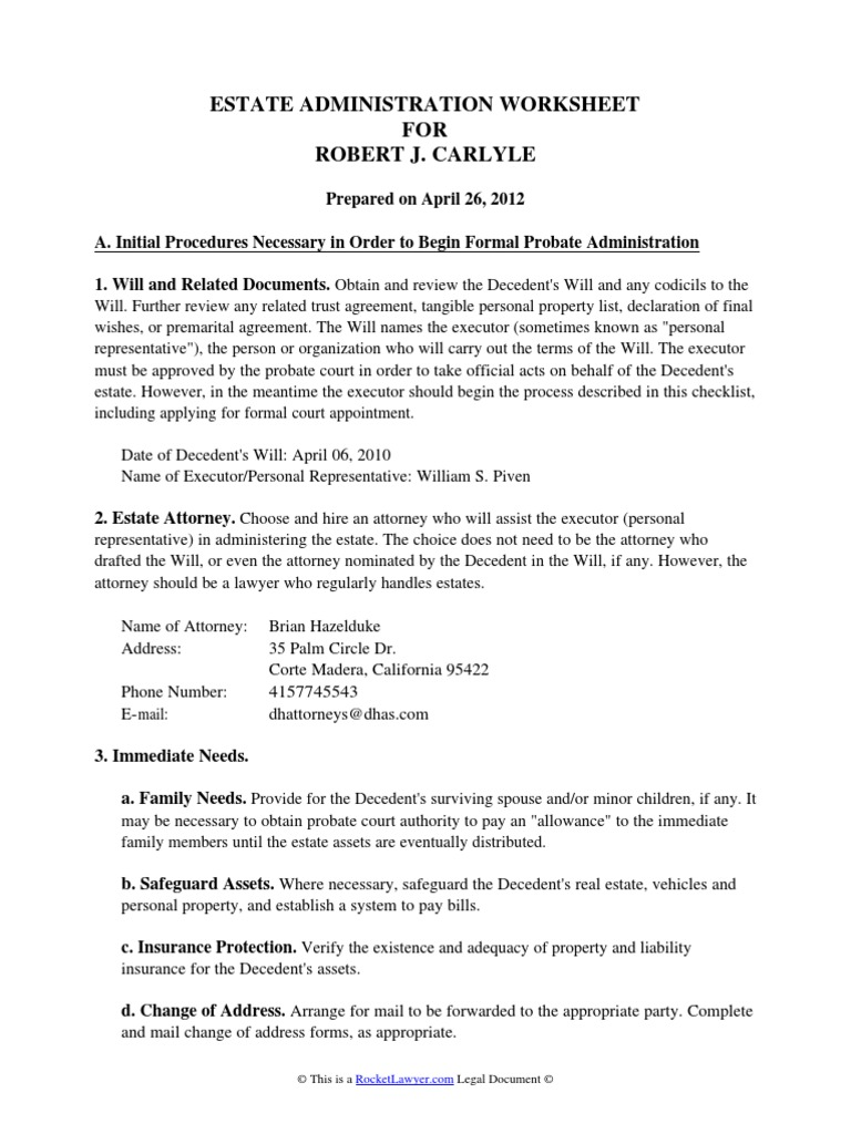 Estate Administration Worksheet Probate Will And Testament