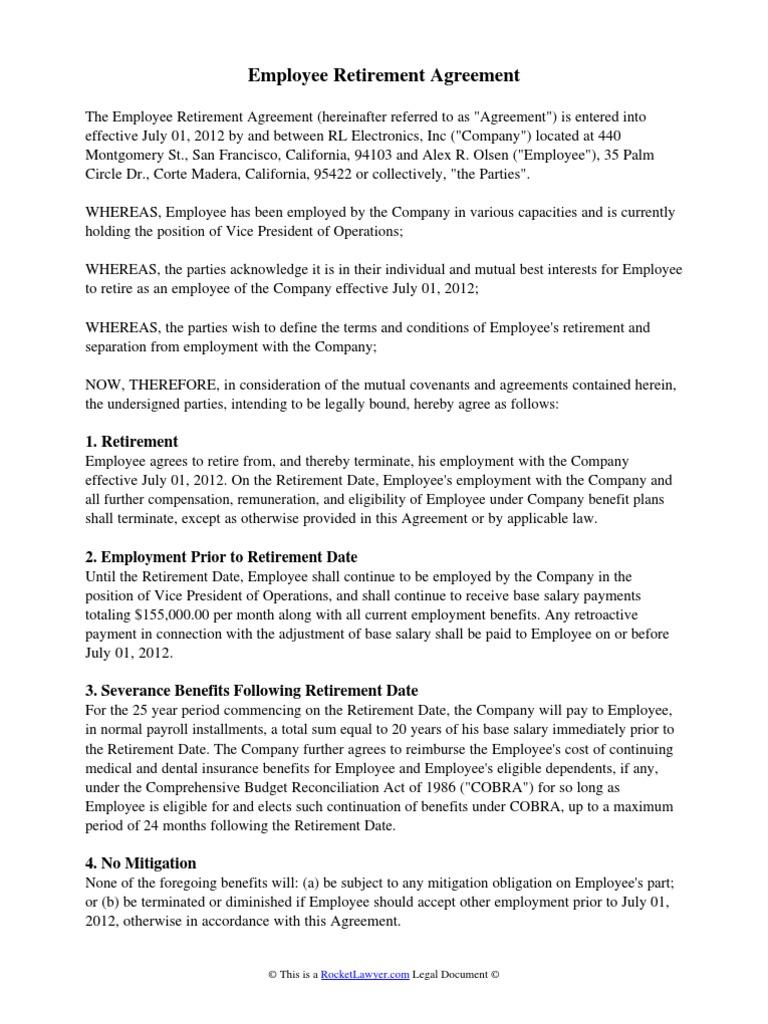 Employee retirement agreement law of agency subsidiary platinumwayz