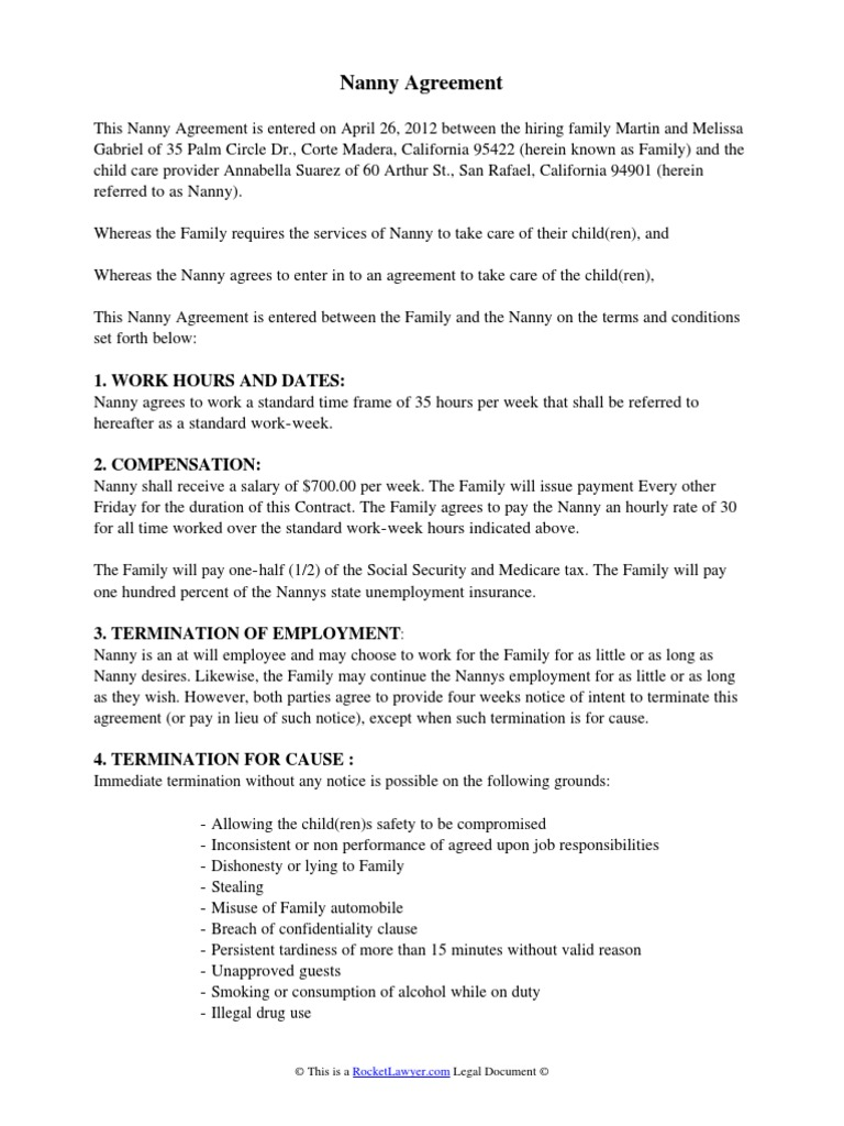 nanny agreement contract – Nanny Contract