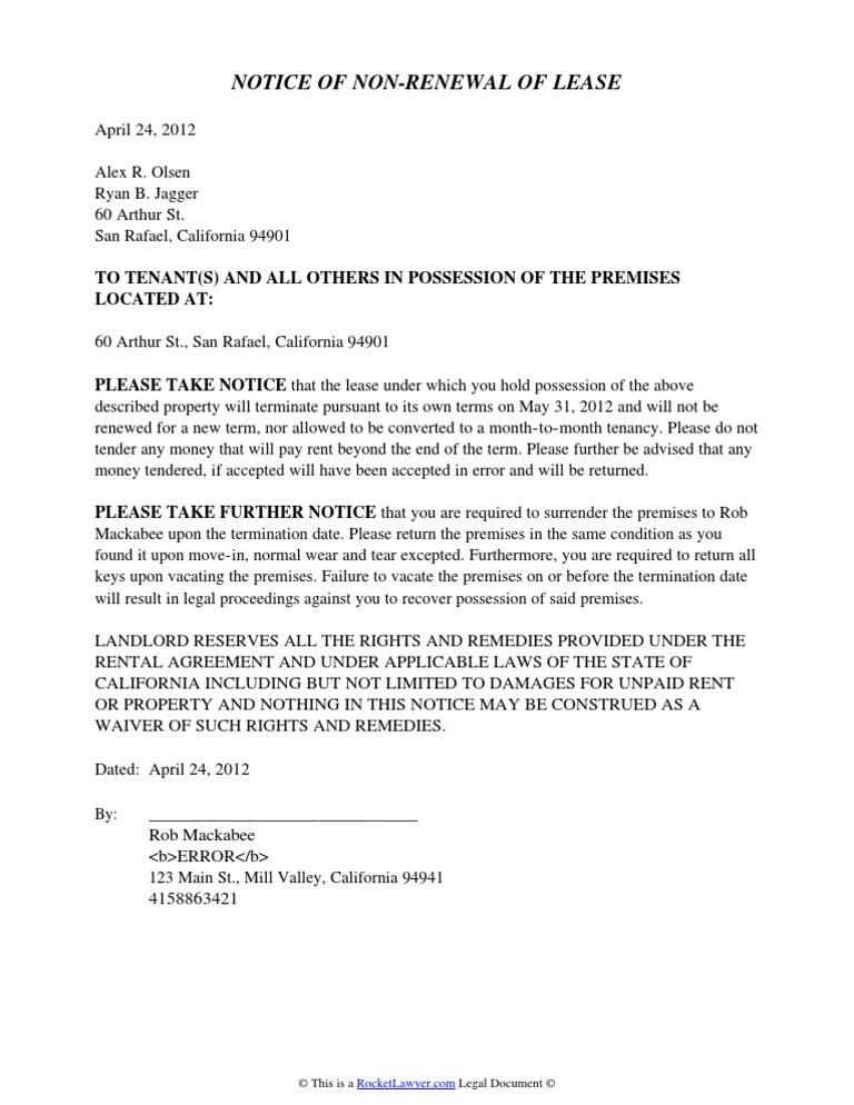 Landlords notice of non renewal thecheapjerseys Choice Image