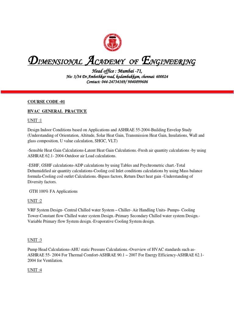 Hvac Pg Diploma | Air Conditioning | Hvac