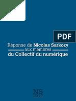 Réponse de Nicolas Sarkozy aux membres du Collectif du numérique