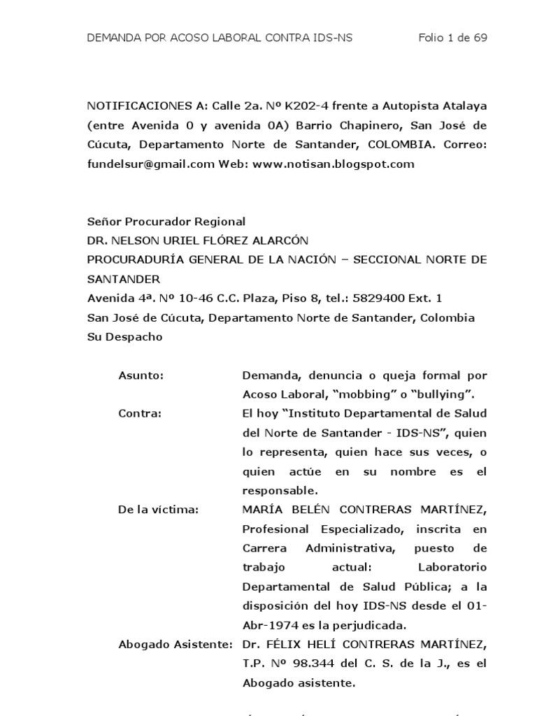 borrador... Demanda acoso laboral ante la procuraduría