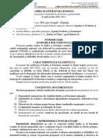Programa de Examene La Limba si literatuara Română Pentru Absolvirea Gimnaziului 2011 - 2012