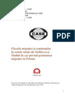 Efectele Migratiei Si Remitentelor in Zonele Rurale Ale Moldovei Si Studiul de Caz Privind Gestionarea Migratiei in Polonia